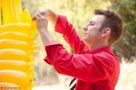 Artists working on GIRAFFE balloon