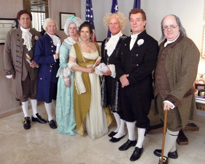 Jefferson, Madison, Mrs Washington Dolly Madison, Adams, Monroe and of course BEN
